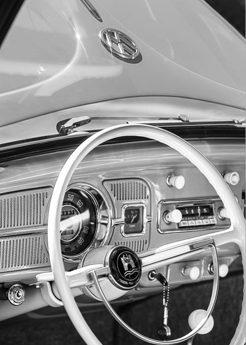 1962 Volkswagen Vw Beetle Cabriolet Steering Wheel Greeting Card featuring the photograph 1962 Volkswagen Vw Beetle Cabriolet Steering Wheel by Jill Reger