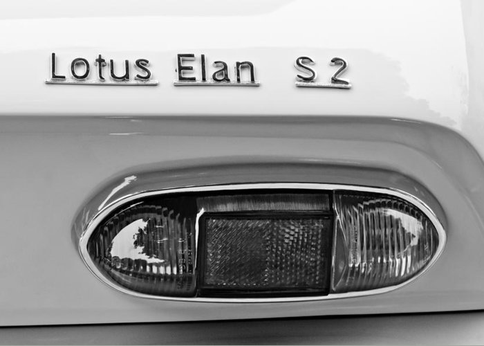 1965 Lotus Elan S2 Taillight Emblem Greeting Card featuring the photograph 1965 Lotus Elan S2 Taillight Emblem by Jill Reger