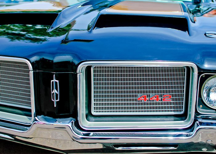 1972 Oldsmobile 442 Grille Emblem Greeting Card featuring the photograph 1972 Oldsmobile 442 Grille Emblem by Jill Reger