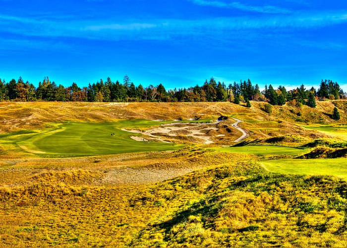 Chambers Bay Golf Course Greeting Card featuring the photograph #4 At Chambers Bay Golf Course - Location Of The 2015 U.s. Open Championship by David Patterson
