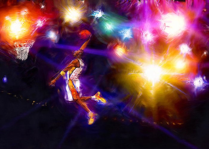 Kobe Bryant Greeting Card featuring the digital art A Star Is Born by Alan Greene