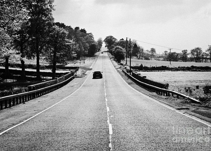 A69 Greeting Card featuring the photograph A69 Road On The Border Of Cumbria And Northumberland Uk by Joe Fox