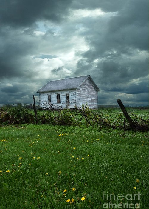 Farm Greeting Card featuring the photograph Abandoned Building In A Storm by Jill Battaglia