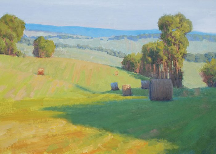 Landscape Greeting Card featuring the painting Along Rectortown Road by Armand Cabrera