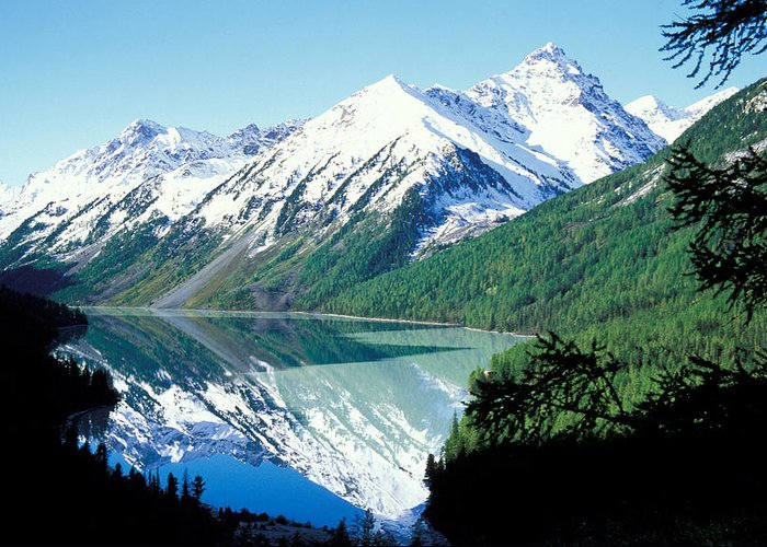 Forestland; Hills & Mountains; Landscape; Nature; Nobody; Outdoors; Outside; River; Scenery; Scenic; Scenics; Snow; Trees; Water; Woodland Greeting Card featuring the photograph Altai Mountains by Anonymous