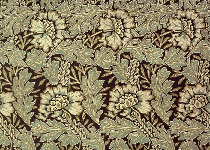 Anemones Greeting Card featuring the tapestry - textile Anemone Design by William Morris