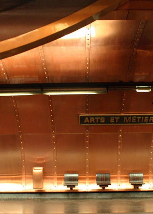 Greeting Card featuring the photograph Arts Et Metiers Metro by A Morddel