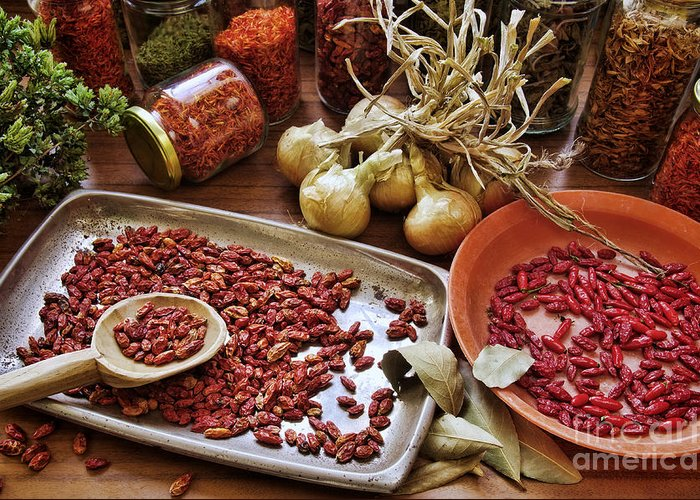 Aromatic Greeting Card featuring the photograph Assorted Spices by Carlos Caetano