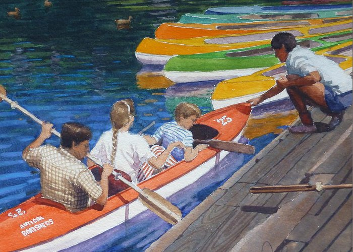 Boats Greeting Card featuring the painting Avon Christchurch Nz. by Terry Perham