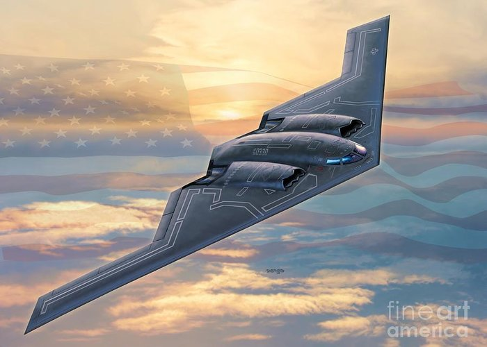 B-2 Greeting Card featuring the digital art B-2 Spirit by Stu Shepherd