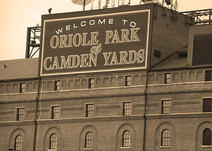 America Greeting Card featuring the photograph Baltimore Orioles Park At Camden Yards by Frank Romeo