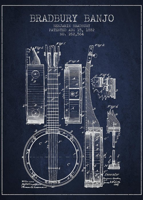 Banjo Greeting Card featuring the drawing Banjo Patent Drawing From 1882 - Blue by Aged Pixel
