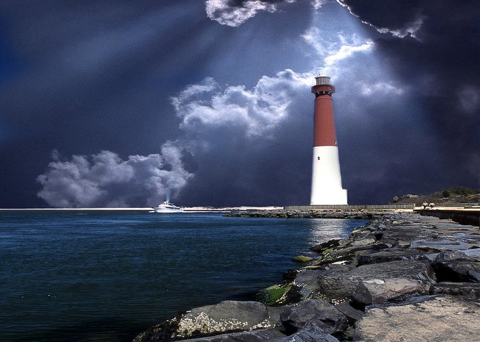 Lighthouses Greeting Card featuring the photograph Barnegat Inlet Lighthouse Nj by Skip Willits