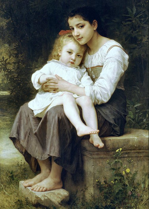 Big Sister Greeting Card featuring the digital art Big Sister by William Bouguereau