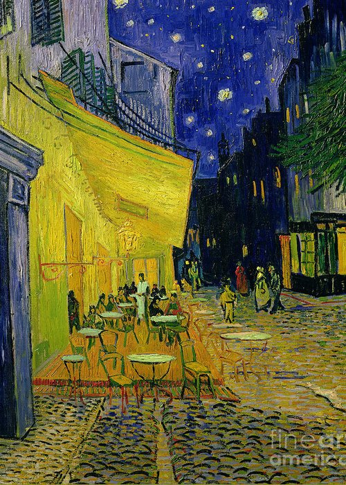 Cafe Terrace Greeting Card featuring the painting Cafe Terrace Arles by Vincent van Gogh