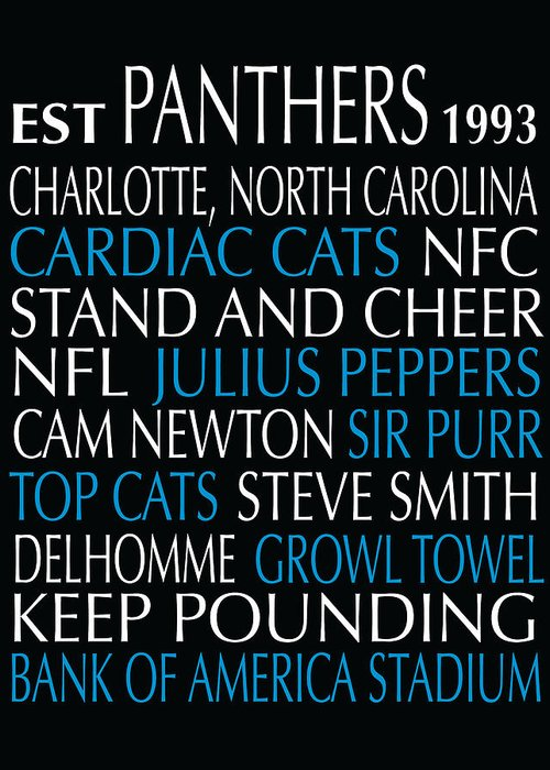Carolina Greeting Card featuring the digital art Carolina Panthers by Jaime Friedman