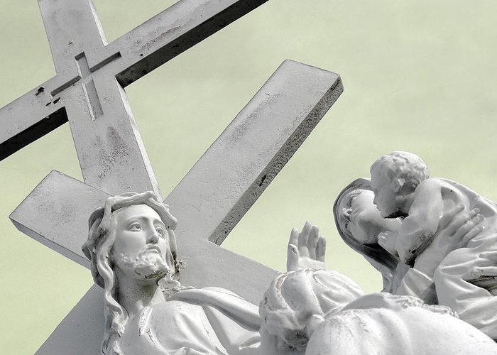 Saint Joseph Cemetery Greeting Card featuring the photograph Christ On The Cross With Mourners Saint Joseph Cemetery Evansville Indiana 2006 by John Hanou