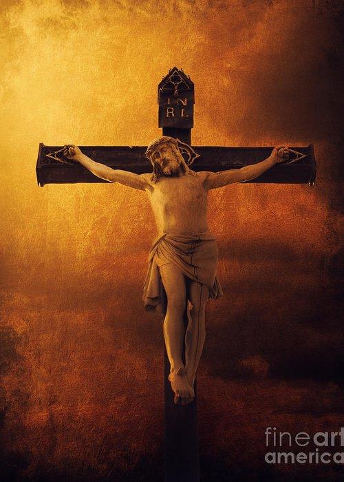 Jesus Greeting Card featuring the digital art Crucifixcion by Jelena Jovanovic