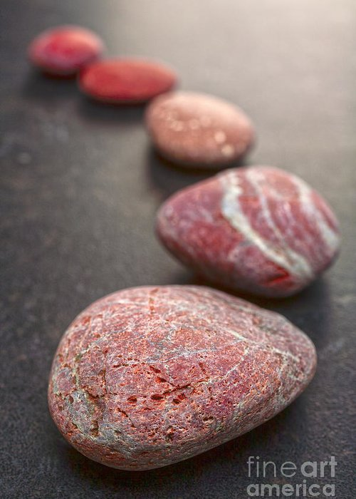 Stone Greeting Card featuring the photograph Curving Line Of Red And Grey Pebbles On Dark Background by Colin and Linda McKie
