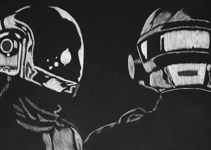 Daft Greeting Card featuring the drawing Daft Punk by Trevor Garner