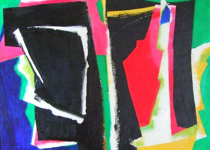 Abstract Expressionism Greeting Card featuring the mixed media Duo by Diane Fine