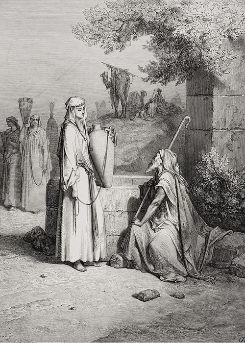 Male Greeting Card featuring the painting Eliezer And Rebekah by Gustave Dore