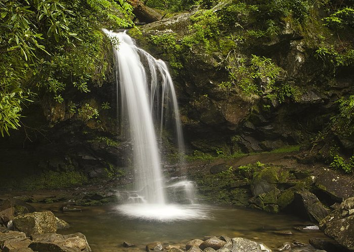 Grotto Falls Greeting Card featuring the photograph Falling Water by Andrew Soundarajan