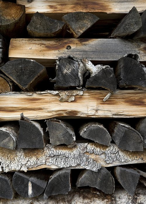 Firewood Greeting Card featuring the photograph Firewood Stack by Frank Tschakert