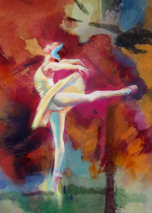 Jazz Greeting Card featuring the painting Flamenco Dancer by Catf