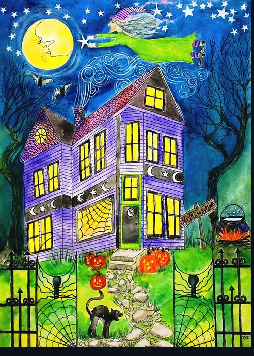 Hallows Eve Greeting Card featuring the painting Flight Of The Moon Witch On Hallows Eve by Janet Immordino