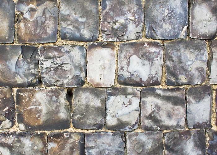 Abstract Greeting Card featuring the photograph Flint Stone Wall by Tom Gowanlock