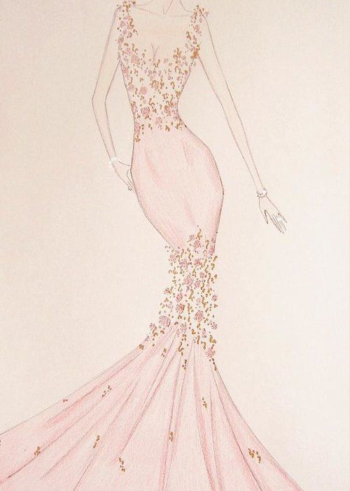 Fantasy Greeting Card featuring the drawing Floral Fantasy Gown by Christine Corretti