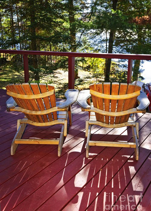 Deck Greeting Card featuring the photograph Forest Cottage Deck And Chairs by Elena Elisseeva