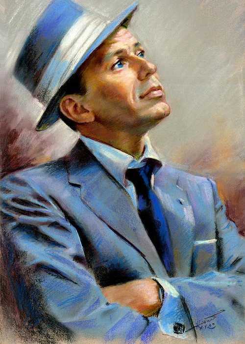 Francis frank Sinatra Greeting Card featuring the pastel Frank Sinatra by Ylli Haruni