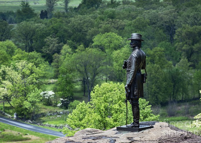 Adams County Greeting Card featuring the photograph General Warren At Little Round Top by John Greim