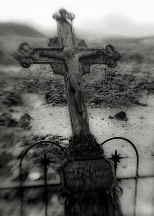 Cemetery Greeting Card featuring the photograph Ghost Town Cross by Sonja Quintero
