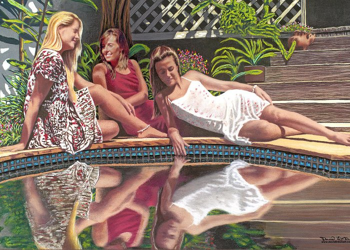 Female Greeting Card featuring the painting Girl Talk by David Linton