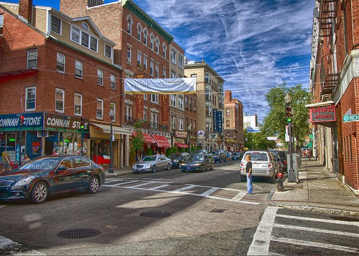Boston Greeting Card featuring the photograph Hanover St. by Joann Vitali