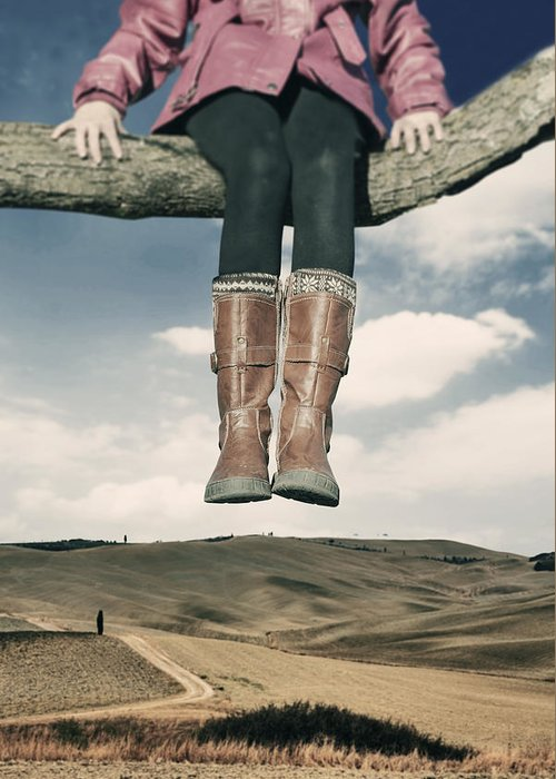 Girl Greeting Card featuring the photograph High Over The World by Joana Kruse