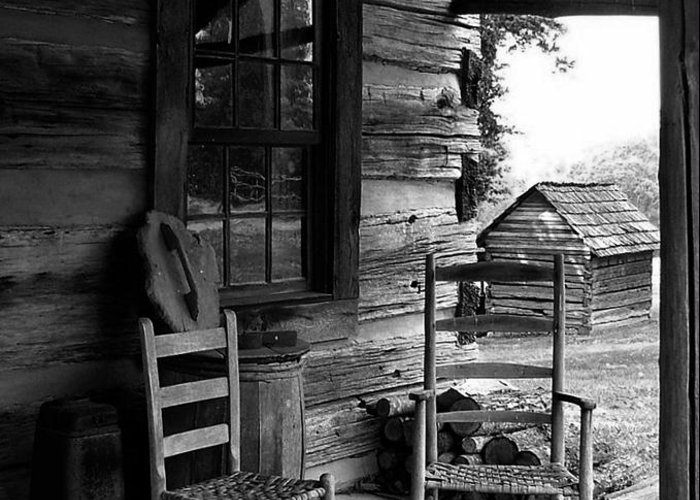Log Cabins Greeting Card featuring the photograph His And Hers by Julie Dant