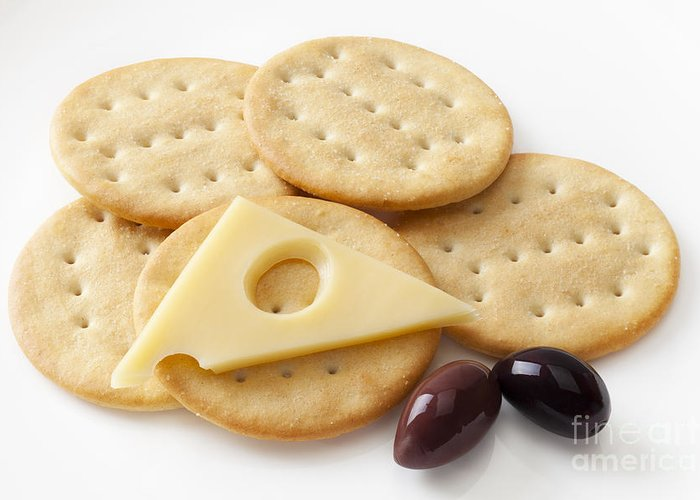 Jarlsberg Greeting Card featuring the photograph Jarlsberg Cheese And Crackers by Colin and Linda McKie