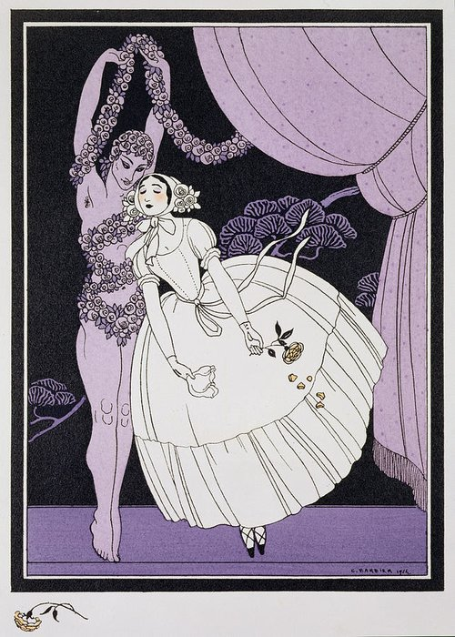 Ballet Russe Greeting Card featuring the painting Karsavina by Georges Barbier