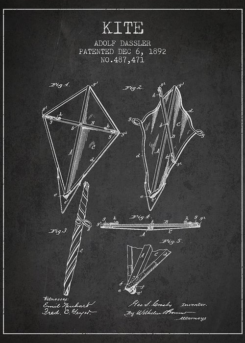 Kite Greeting Card featuring the drawing Kite Patent From 1892 by Aged Pixel