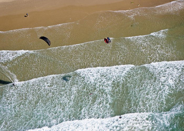 Ofir Ben Tov Greeting Card featuring the photograph Kitesurfing, Tel Aviv by Ofir Ben Tov