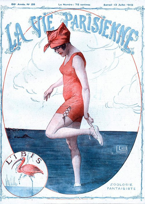 1910�s Greeting Card featuring the drawing La Vie Parisienne 1918 1910s France by The Advertising Archives