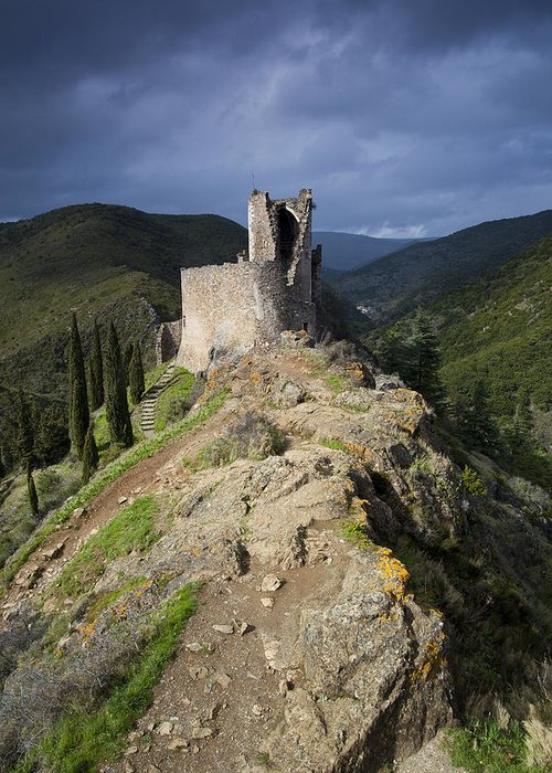 Ancient Greeting Card featuring the photograph Lastours Castle by Ruben Vicente