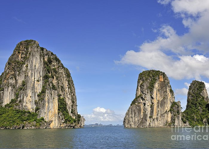 Long Greeting Card featuring the photograph Limestone Karst Peaks Islands In Ha Long Bay by Sami Sarkis