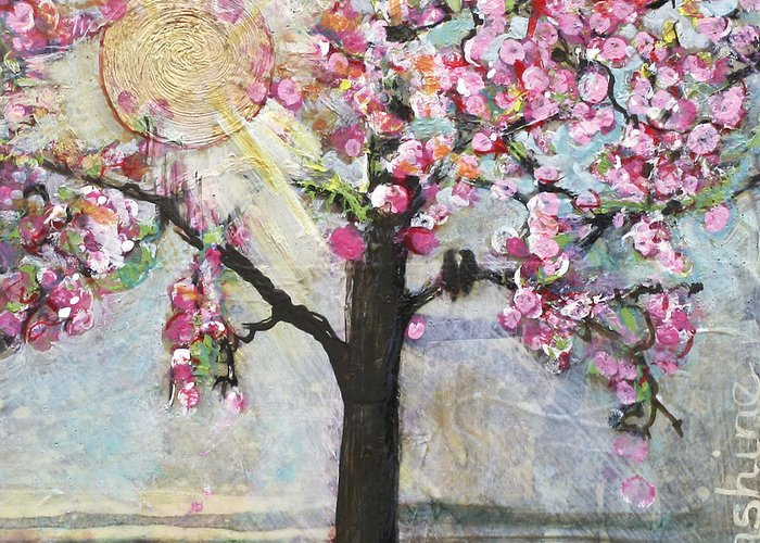 Sun Greeting Card featuring the painting Live In The Sunshine by Blenda Studio