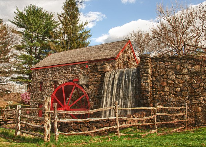 longfellow's Wayside Inn Grist Mill Greeting Card featuring the photograph Longfellow's Wayside Inn Grist Mill by Jeff Folger
