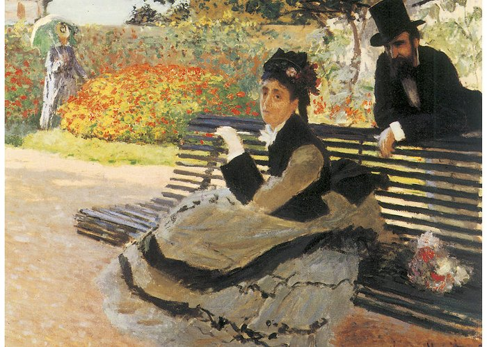 Madame Monet On A Garden Bench Greeting Card featuring the painting Madame Monet On A Garden Bench by Claude Monet